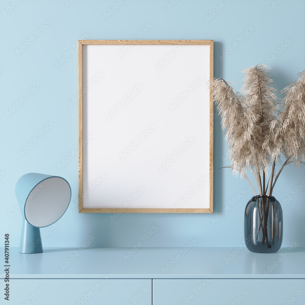 Fototapeta 3d render of a modern mockup interior with wooden frame on a light blue wall and a vase with dried grass