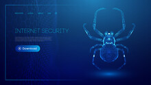 Virus Spider In Low Poly Style On Blue Background. Cybercryme Technology Network Web Vector Illustration. Internet Fraud Abstract Vector Background. Cyber Criminal Hacker Attack.