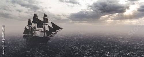 Fotografie, Obraz Pirate ship sailing on the ocean. Stormy clouds