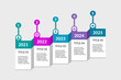 Timeline infographic with 5 options. Business plan concept. Chart illustrating phases, steps, processes. 5 year strategy workflow diagram. Design template with 3D numbered labels. Vector illustration