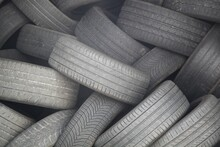 Old Used Car Tires Stacked