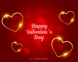 happy valentines day golden floating hearts design