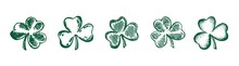Clover Set, Hand Drawn Style. Patrick Day.	Vector Illustration.