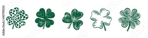 Fényképezés Clover set, hand drawn style. Patrick day.	Vector illustration.