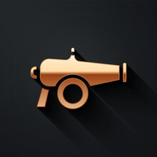 Gold Cannon Icon Isolated On Black Background. Long Shadow Style. Vector.