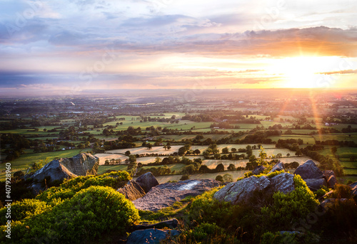 Obraz na plátně Sunset panorama in Cheshire