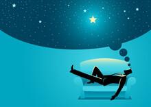 Businessman Daydreaming While Sleeping On Sofa
