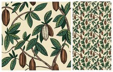 Cocoa Plant Seamless Pattern. Cacao Bean. Vector Illustration