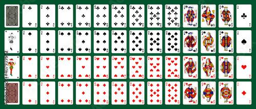 Fototapeta Poker playing cards, full deck - Green background in a separate layer obraz na płótnie