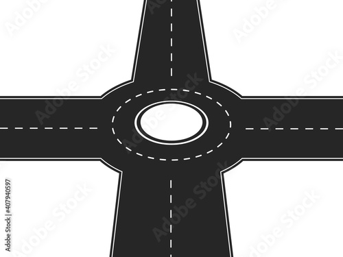 Four way crossroad with round platform in center Fototapet