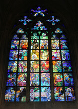 The Jugend Glass Window Of Alphonse Mucha In The St. Vitus Cathedral.