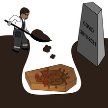 """Funeral Of Coronavirus. It's Lying In A Coffin In A Grave. Worker Buries It. There Is An Inspiration On The Tombstone """"COVID 2019-2021""""."""