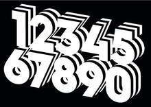 Stripes On Numbers. Zebra Numbers. Vector Numbers. Lines.