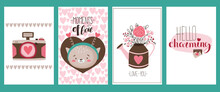 Set Of 4 Valentine's Day Cards With Camera, Cat In Hearts, Festive Lettering And Bouquet In A Watering Can. Vector Illustration In Cute Cartoon Flat Style For Printing Or Digital Use.