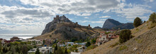 Impressive View Towards Genoese Fortress In Sudak, Crimea, Russia.
