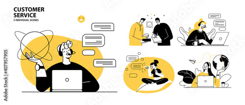 Customer service concept illustrations. Collection of individual scenes for technical support assistant, customer and operator vector. Customer service, hotline operator advises customer, online