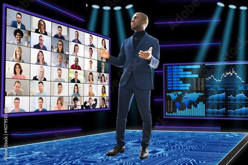 Canvas Print Virtual Video Conference Webinar Call
