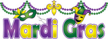 Mardi Gras Banner With Beads