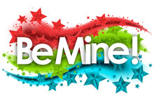 Be Mine Word In Stars Colored Background