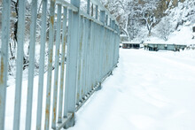 Fence In Snow, Snow Covered Fence