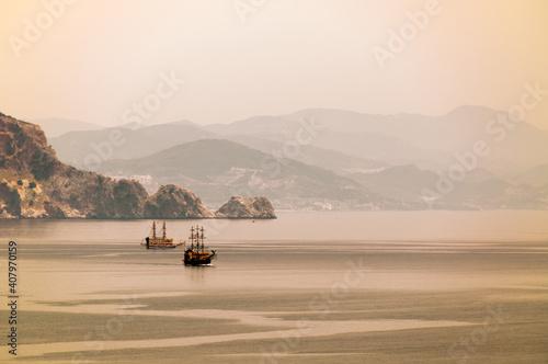 Fotografie, Obraz Sailing ship in the picturesque sea Bay of Turkey