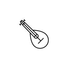 Mandolin Line Icon Isolated On White Background