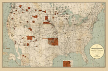 """""""Indian Reservations Within The Limits Of The United States.""""  Enhanced, Restored Reproduction Of An Old Map Showing Indian Reservations By Name As Of 1890."""