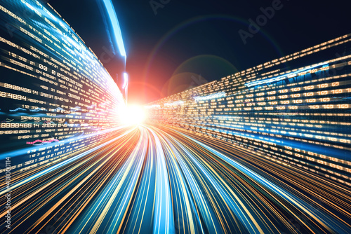 Obraz Digital data flow on road with motion blur to create vision of fast speed transfer . Concept of future digital transformation , disruptive innovation and agile business methodology . - fototapety do salonu