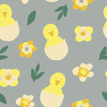 Chick Hatched From Eggs And Flowers Seamless Pattern. Wallpaper, Textiles, Wrapping Paper. Vector Hand Drawn Doodle. Trendy Colors 2021 Gold, Green, Gray, Yellow. Baby, Easter.