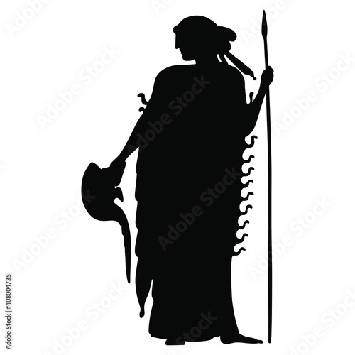 Stampa su Tela Silhouette of standing ancient Greek goddess Athena or Minerva with spear and helmet
