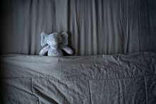 Elephant Doll Sleeping On Gray Bed With Copy Space Provided.