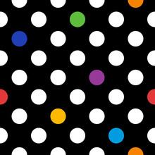 White Polka Dots With Rainbow Colored Elements, Vector Seamless Pattern With Black Background