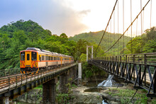 Trains Traveling At Pingxi Line In , New Taipei City, Taiwan