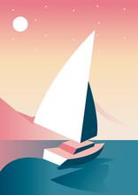 Sailboat In The Lake Aventure Travel Landscape Scene
