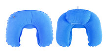 Blue Inflatable Neck Pillow Air Fill  Isolated On White Clipping Path Included..