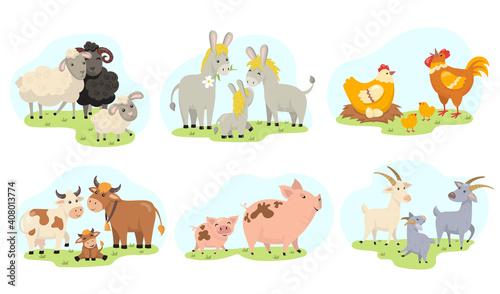 Vászonkép Cute farm animals family flat illustration set