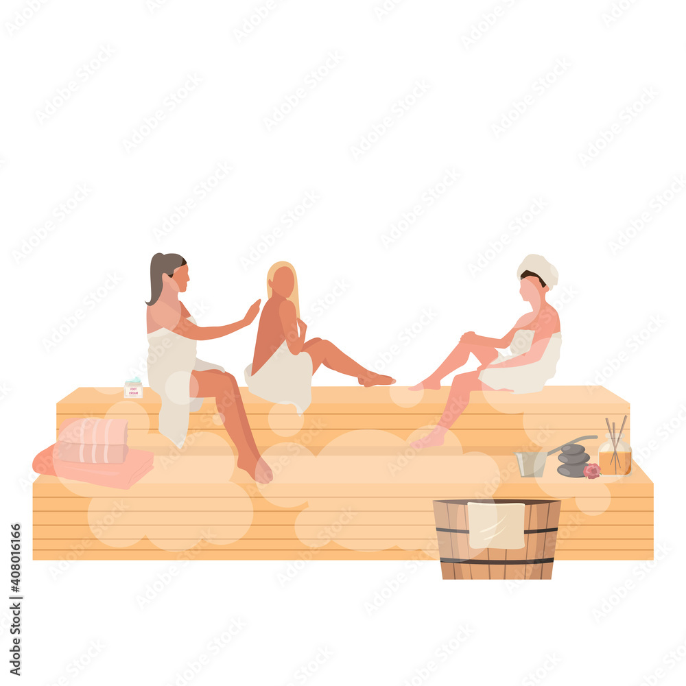 Fototapeta Woman day in sauna women relax in stream room,