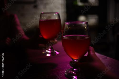 Glass with drink romance restaurant interior luxury © SHOTPRIME STUDIO