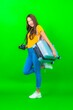 Leinwandbild Motiv Portrait beautiful young asian woman with camera phone luggage map ready for travel