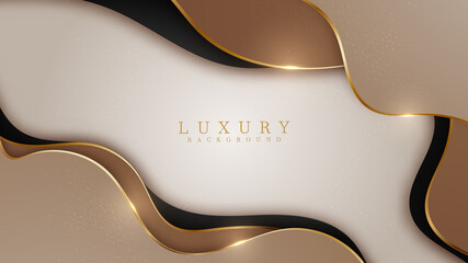 Abstract black and brown luxury background with golden line , paper cut style 3d. vector illustration.