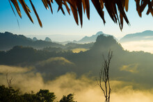 Beautiful Mist On The Top Of Mountain In The Sunrise Morning At Ban Jabo Maehongson, Northern Thailand. Travel Nature Concept.