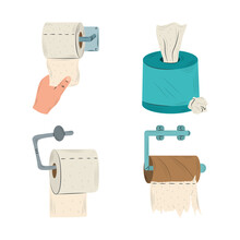 Toilet Paper Rolls In Holder And Tissue Box Collection