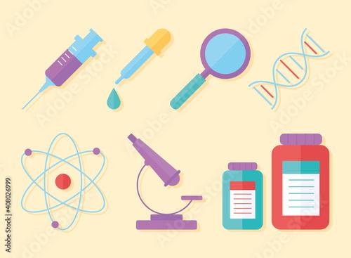 Vászonkép chemistry science magnifier syringe microscope atom, flat style
