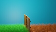 The Grass Is Always Greener On The Other Side. 3d Rendering Illustration