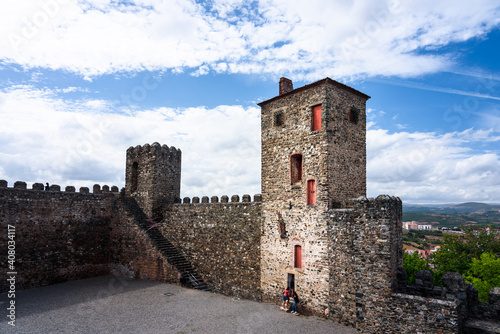 Braganca Medieval Castle. View of the walls and beyond the Castle of Braganca, a medieval fort, located in the historic centre of Braganca, Portugal © marinzolich