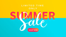 Summer Sale Banner, Sea And Sun In A Simplified Style With Offer Of Large Discounts In Stores.Hot Season Clearance Poster,invitation For Shopping, Special Offer Card, Template For Design.Vector
