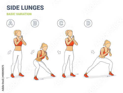 Side Lunges Girl Exercise Guidance Fototapet