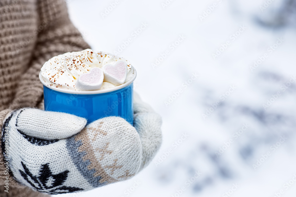 Fototapeta woman hands holding mug with hot cocoa
