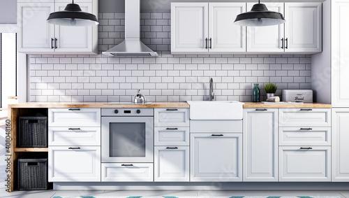 Fotografija Scandinavian open style kitchen in white color, white tiles