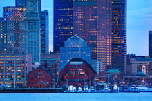Boston City Downtown View From East Side Of The Inner Harbor Massachusetts, USA